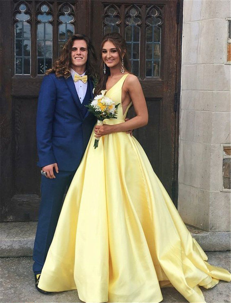 Yellow Long Satin Deep V Neck A Line Girls Formal Prom Gowns 2021 Pl03311 In 2021 Prom Dresses For Teens Prom Dresses Prom Dresses Yellow [ 1024 x 781 Pixel ]