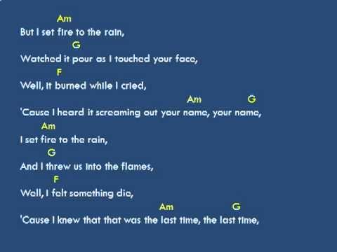 1 Adele Set Fire To The Rain Lyrics And Chords Youtube Piano