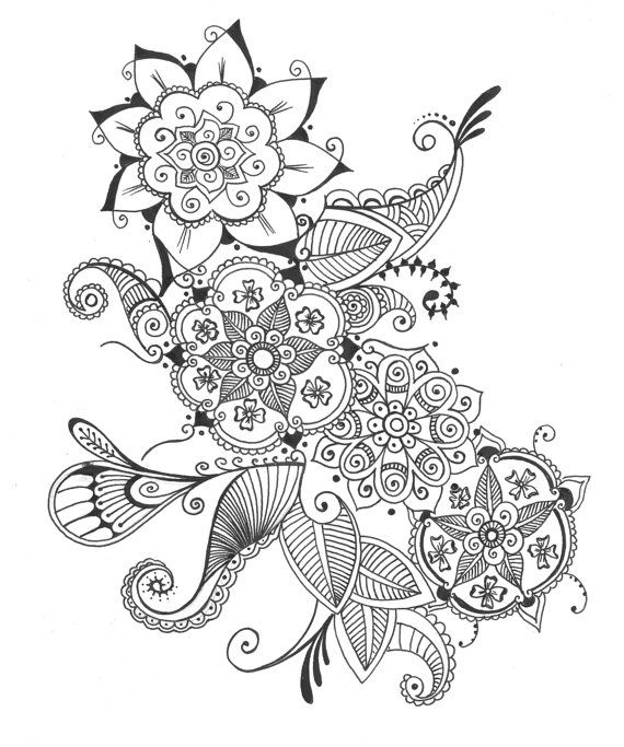 Mehndi Flower Drawing : Art print bouquet of flowers henna floral ink