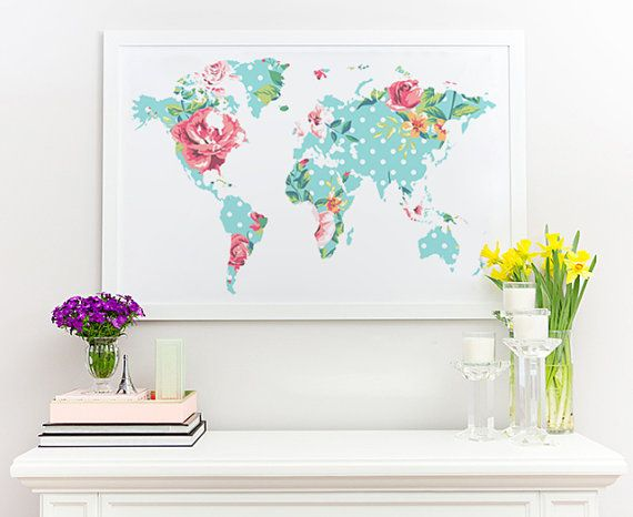 Floral world map art print instant download printable decor large floral world map poster art print instant by decorartdesign gumiabroncs Image collections
