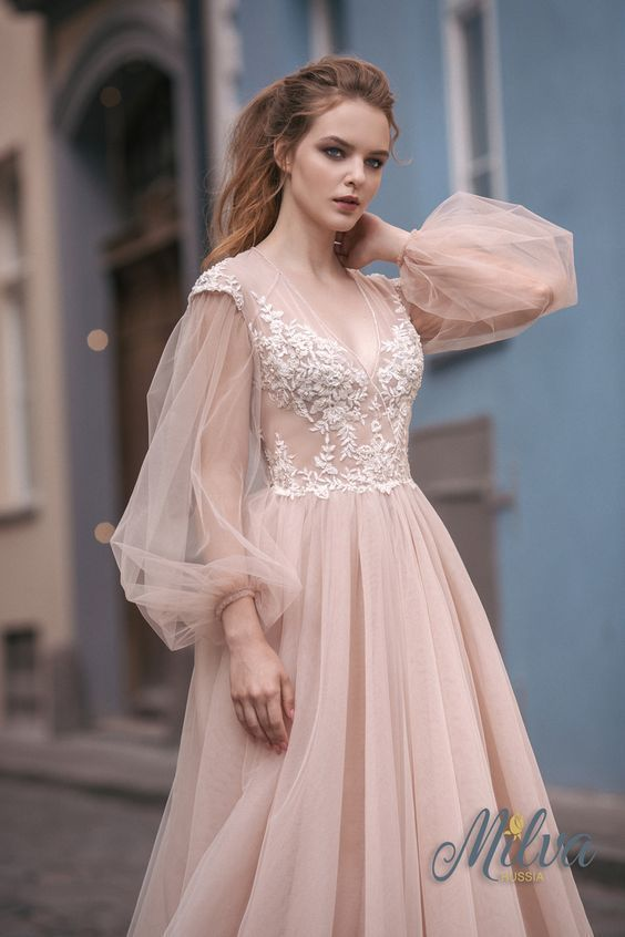 Lace Chiffon Prom Dress,V Neck Wedding Dress,Long Sleeve Wedding Dress #lacechiffon