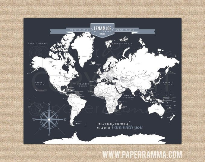 Travel map gift for your travel loving loved one the perfect gift interactive travel map family travel map with countries capitals mark places visited choose art print or canvas gumiabroncs Choice Image