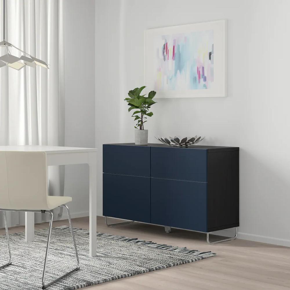 Besta Combi Rgt Portes Tiroirs Brun Noir Notviken Sularp Bleu Ikea Salon Marron Ikea Mobilier De Salon