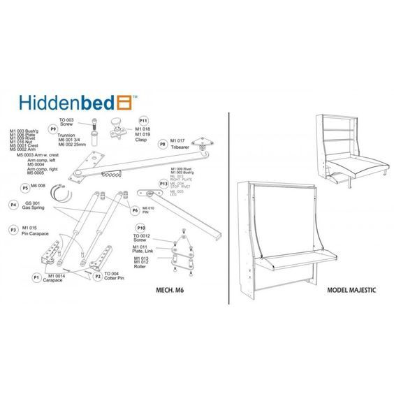 DIY Slim Twin (Single) Do It Yourself Mechanism, Plans Drawings