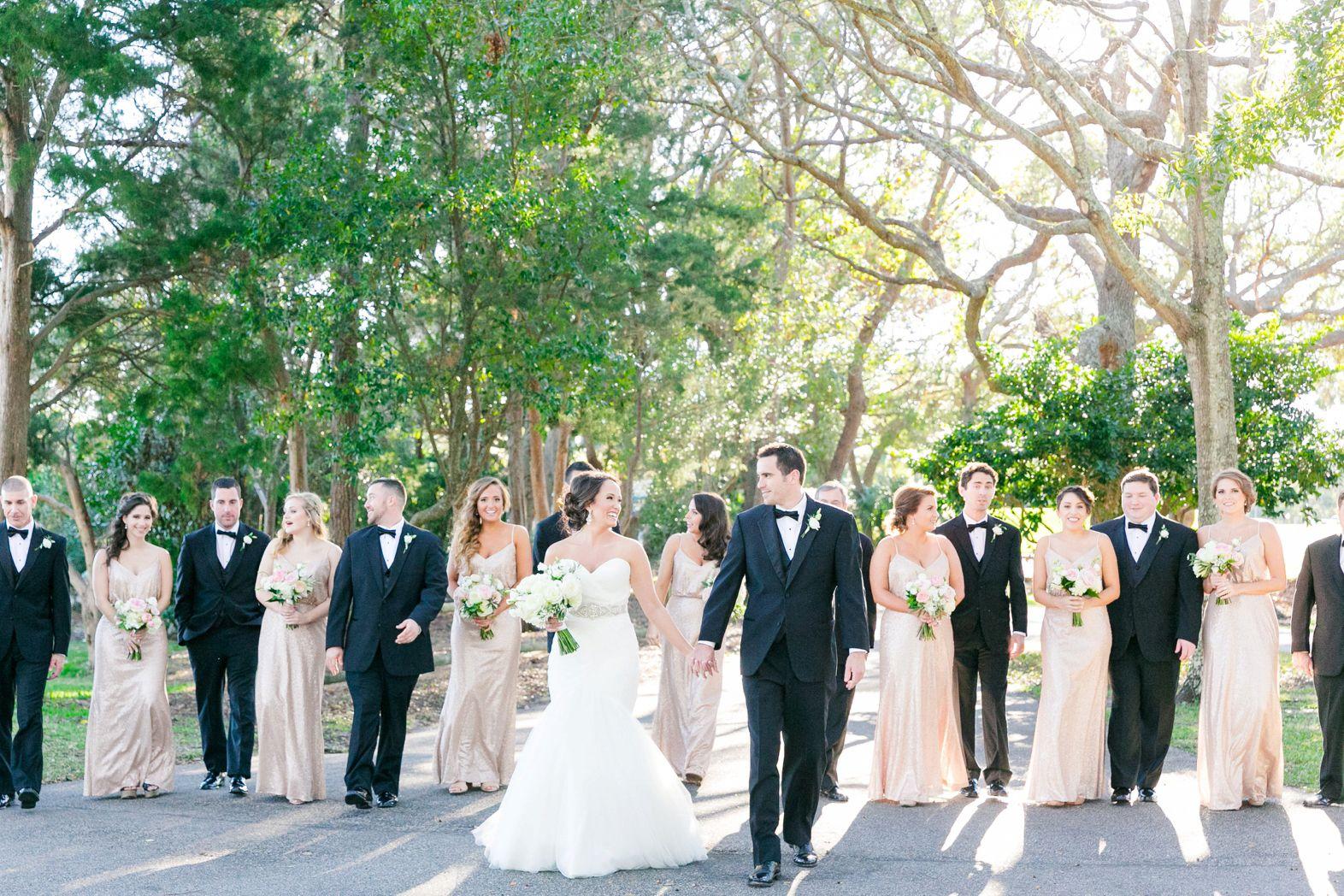Blush Sequined Bridesmaid Dresses Black Tuxes Elegant Blush Gold Wedding At The Dunes Club In Blush Gold Wedding Black Tux Wedding Marine Wedding Colors [ 1048 x 1572 Pixel ]