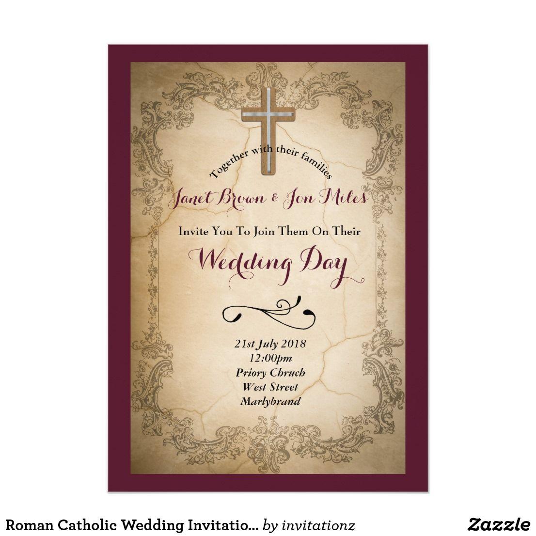 Roman Catholic Wedding Invitation Rustic Burgundy | Trending Wedding ...