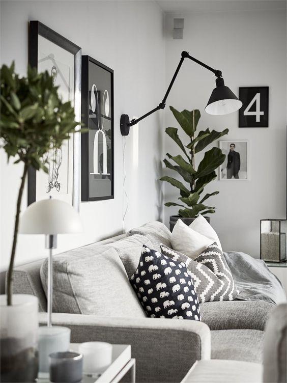Modern Scandinavian Living Room With Interior In Grey Wall Art