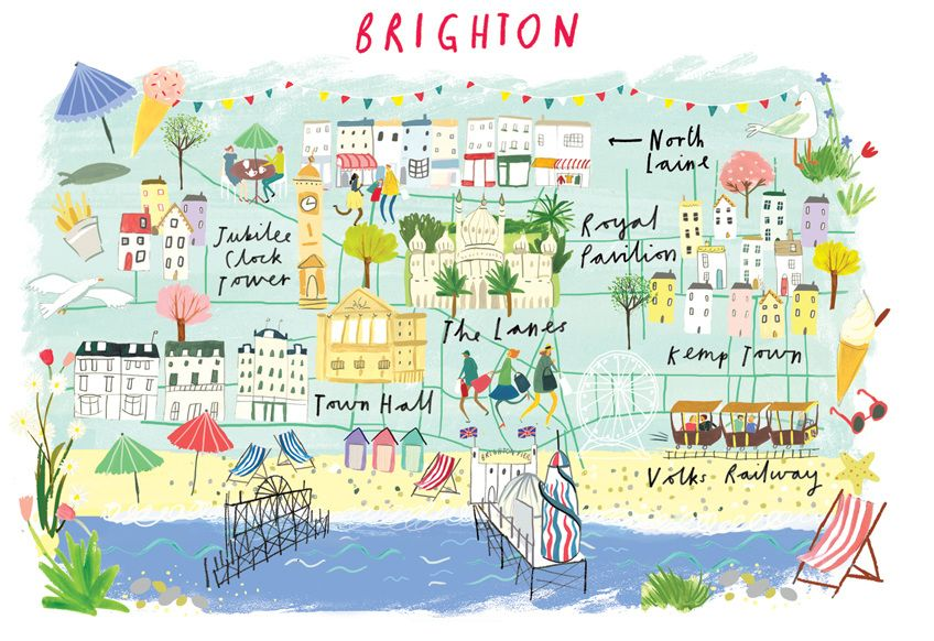 Map Of England Brighton.Clair Rossiter Map Of Brighton Travel Graphics In 2019