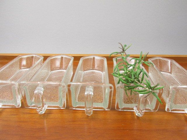 5 German Glass Scoops Glass Jars Glass Drawers Pourer For