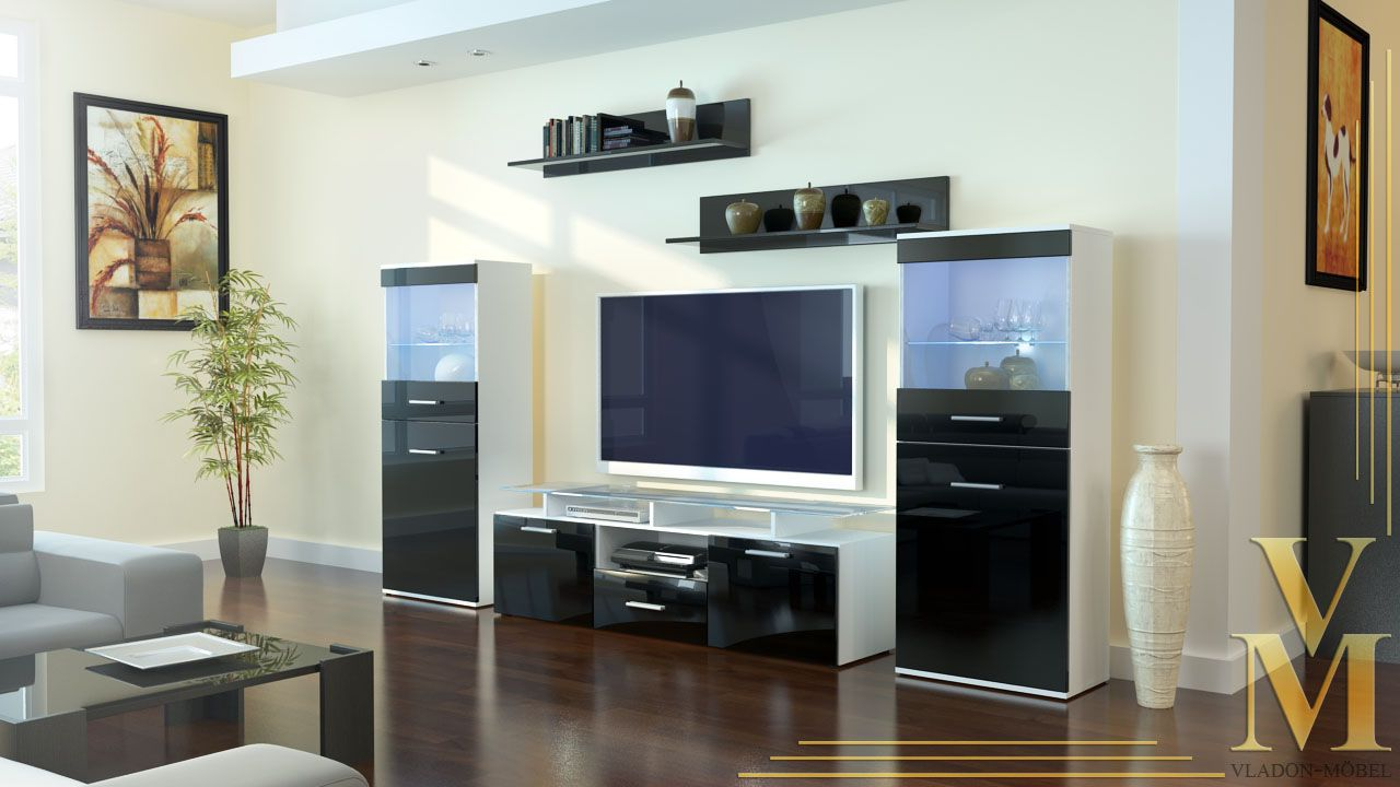 Best Collection Of Modern Living Room Wall Unit Ideas Charming Black And White Modern Tv Wa Modern Living Room Wall Living Room Modern Living Room Wall Units