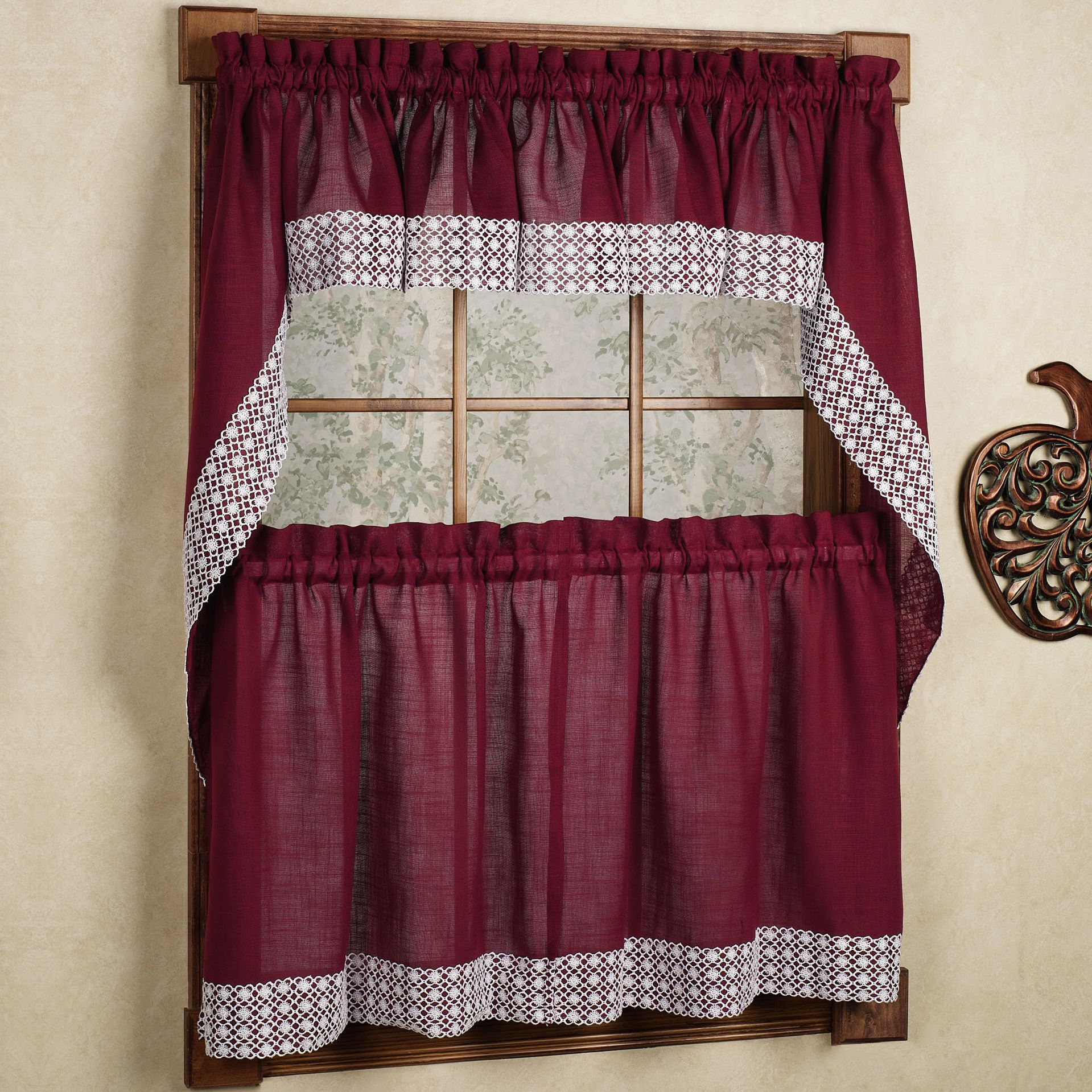 Salem Kitchen Curtain U2013 Burgundy W/White Lace Trim U2013 Lorraine Home Fashions
