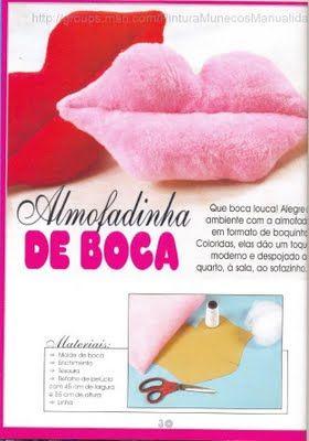 ARTE COM QUIANE - Paps,Moldes,E.V.A,Feltro,Costuras,Fofuchas 3D: molde almofada boca