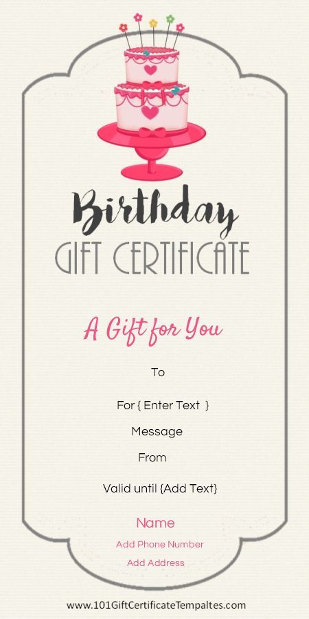 Birthday gift certificate template jan pinterest gift birthday gift certificate template yelopaper Gallery