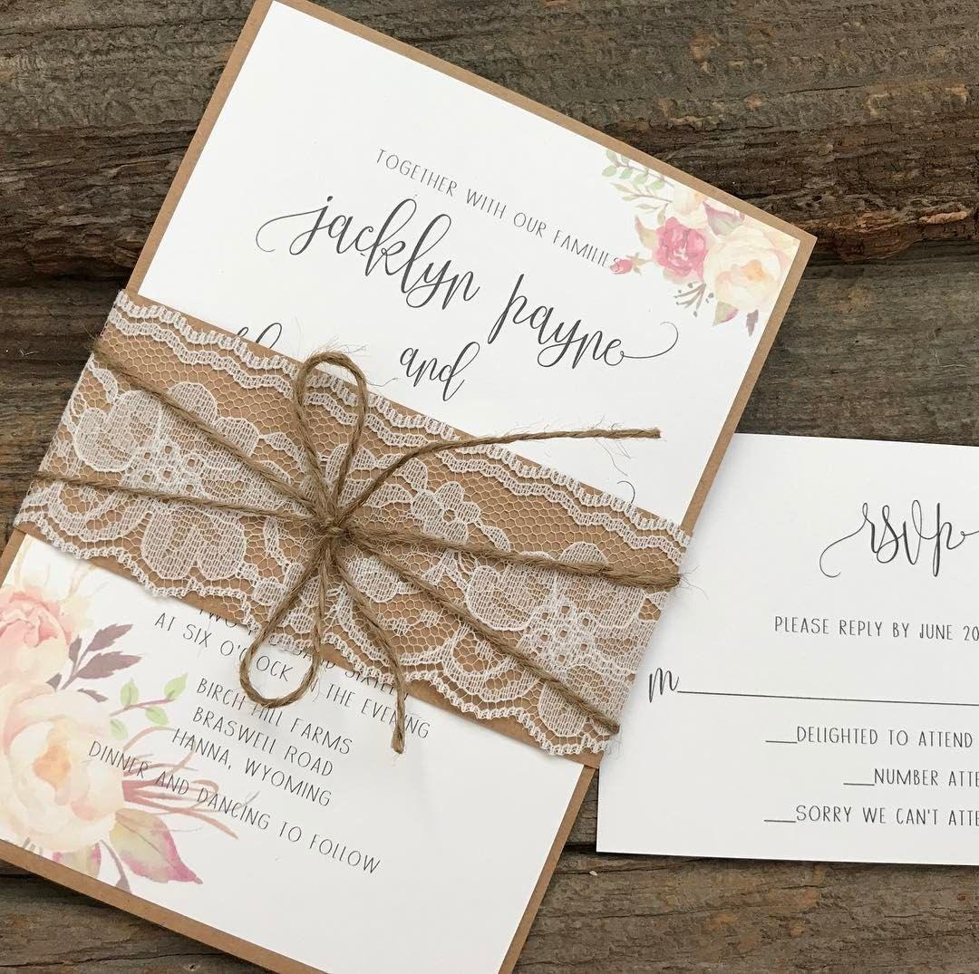 Floral Wedding Invitation Set,Rustic Wedding Invitation,Chic Wedding ...
