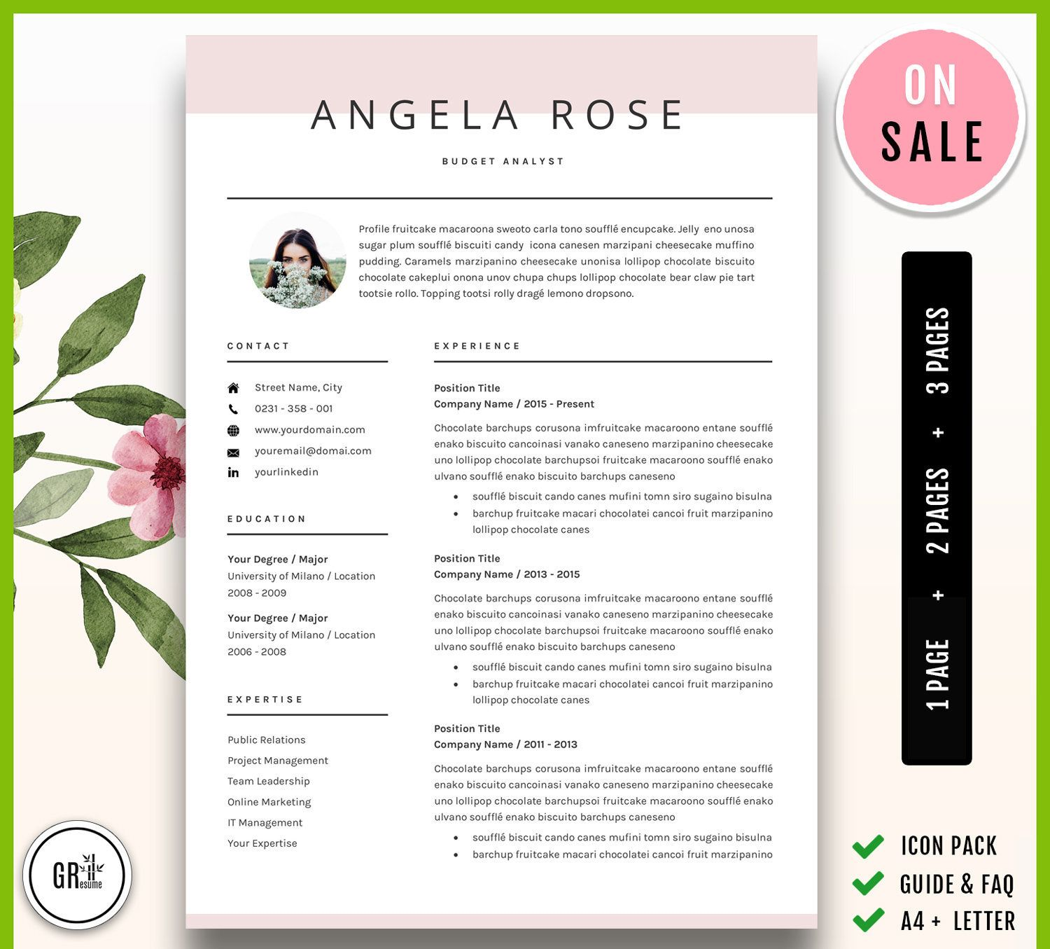 Resume Template Professional CV Template for Word (US