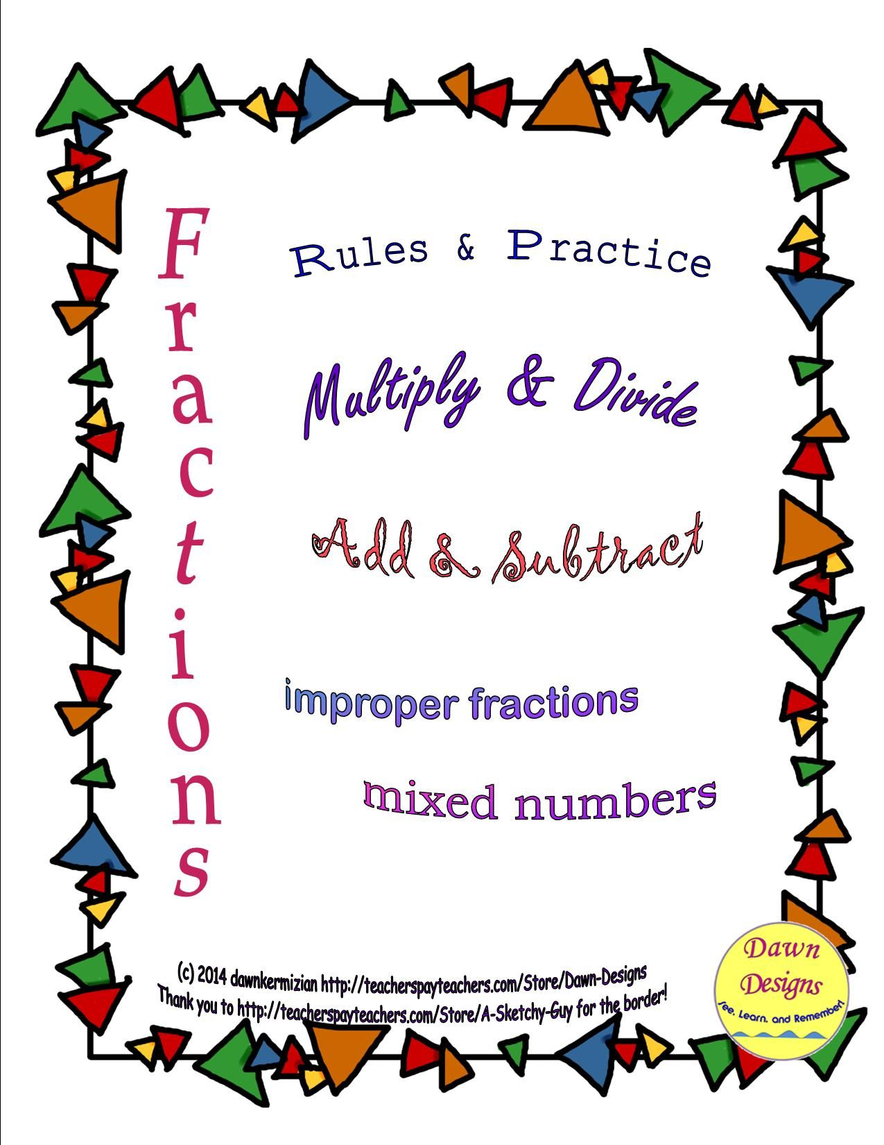 Fractions Mixed Numbers Rules And Practice
