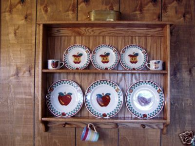 Plate Display Rack Oak Wall Shelf and Mug by appletreewoodcrafts & Plate Display Rack Oak Wall Shelf and Mug Holder | Shelves Display ...