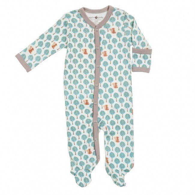 7e081395 Apple Park organic Blue Forest Footie // baby boy // baby pajamas ...