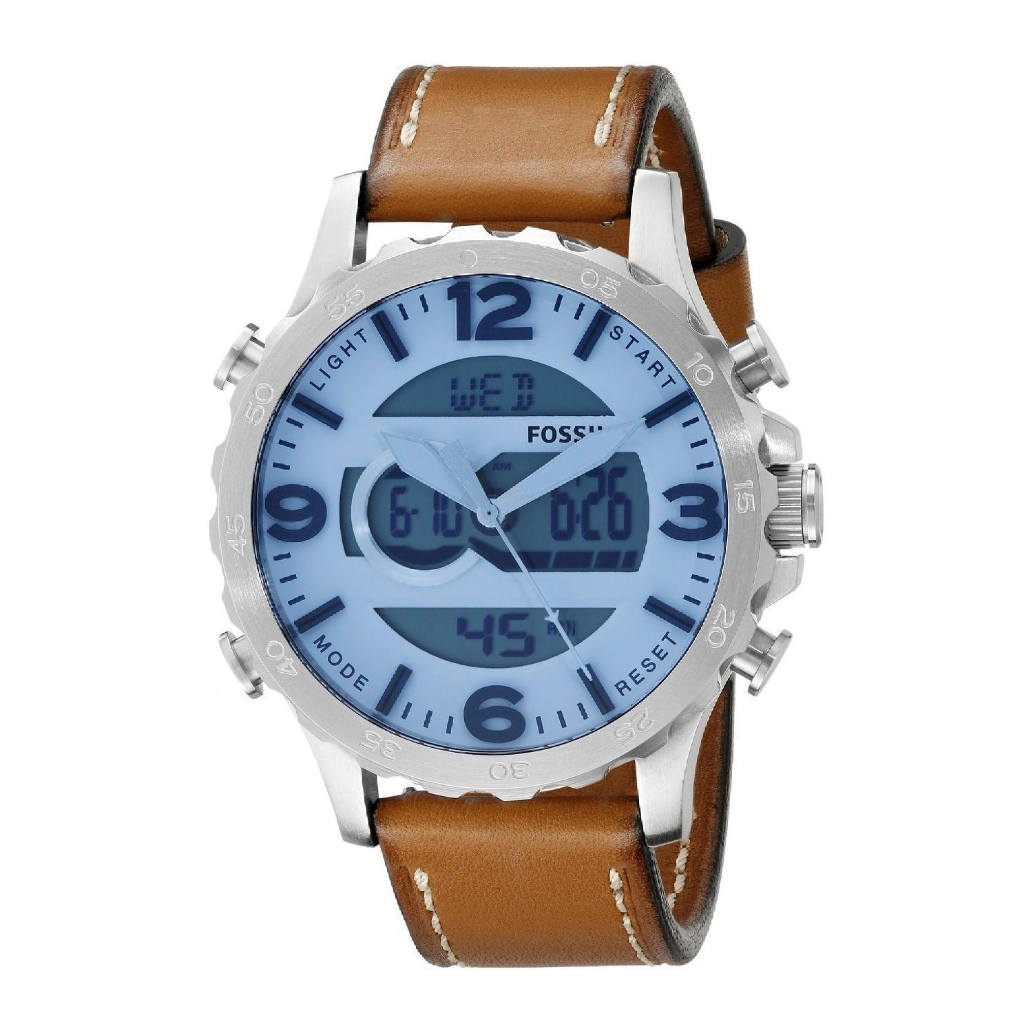 Fossil Mens Nate Analog Digital Multi Function Brown Leather Watch Fs5176 Jr1492