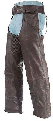 Men S Motorcycle Riders Brn Classic Leather Chap With Stretch Elastic Upto 6xl Mens Leather Pants Classic Leather Chaps