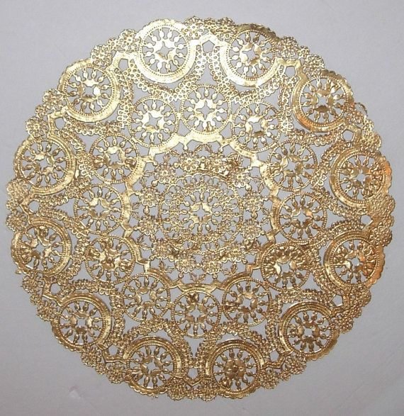 Charger Plates Party City Part - 13: 12 Metallic Gold Paper Doilies, Medallion Style, 8 inch diameter