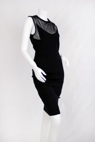 GIVENCHY Black Sheer Top Zippered Sheath Dress