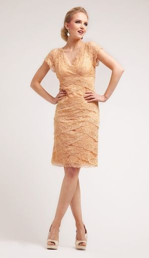 Vintage Knee Length Gold Semi Formal Dress V Neck Short