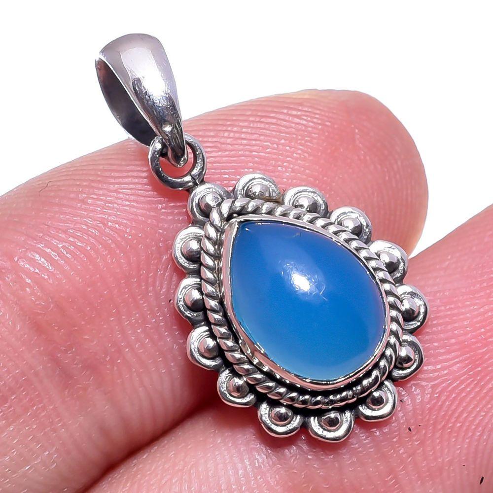 Blue Chalcedony Gemstone 925 Sterling Silver Pear Shape Pendant Jewelry 0 9 Handmade Pendant Birthday Chalcedony Gemstones Silver Pears Pear Shaped Pendant
