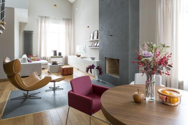 wohnzimmer-essbereich-offen-kamin-visuelle-grenze Kamin Pinterest - dekovorschlage wohnzimmer essbereich