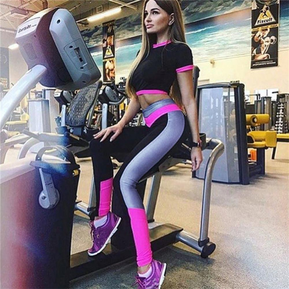 cf66a11c31d Keiko Women s High Waist Pink  White Sports Long Stretchy Yoga Leggings  Pants This is a high quality and durable pair of women s long yoga pants   fitness ...