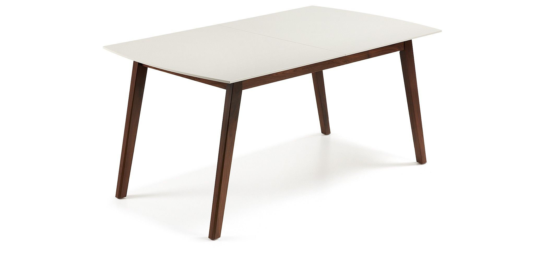 table extensible avec structure en bois de noyer americain massif plateau en panneau de fibres de bois laqu mat longueur maxime 180 cm - Table Extensible