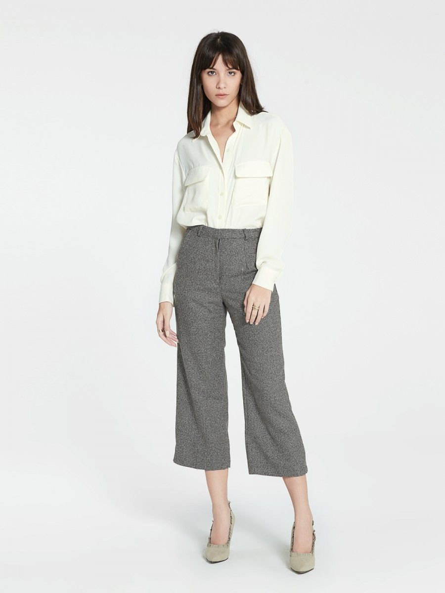 "Shop ""Celia Cropped Pants - Cedar Brown"" at pomelofashion.com"