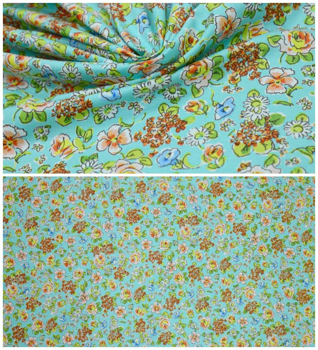 Хлопок  арт. 02-003-2663 Ширина: 141 см, плотность: 155 г/м2 Состав ткани: 96% хлопок 4% эластан #хлопок#эластан#бирюзовый#цветочки#мелкий принт#блузочная#плательная#tutti-tessuti