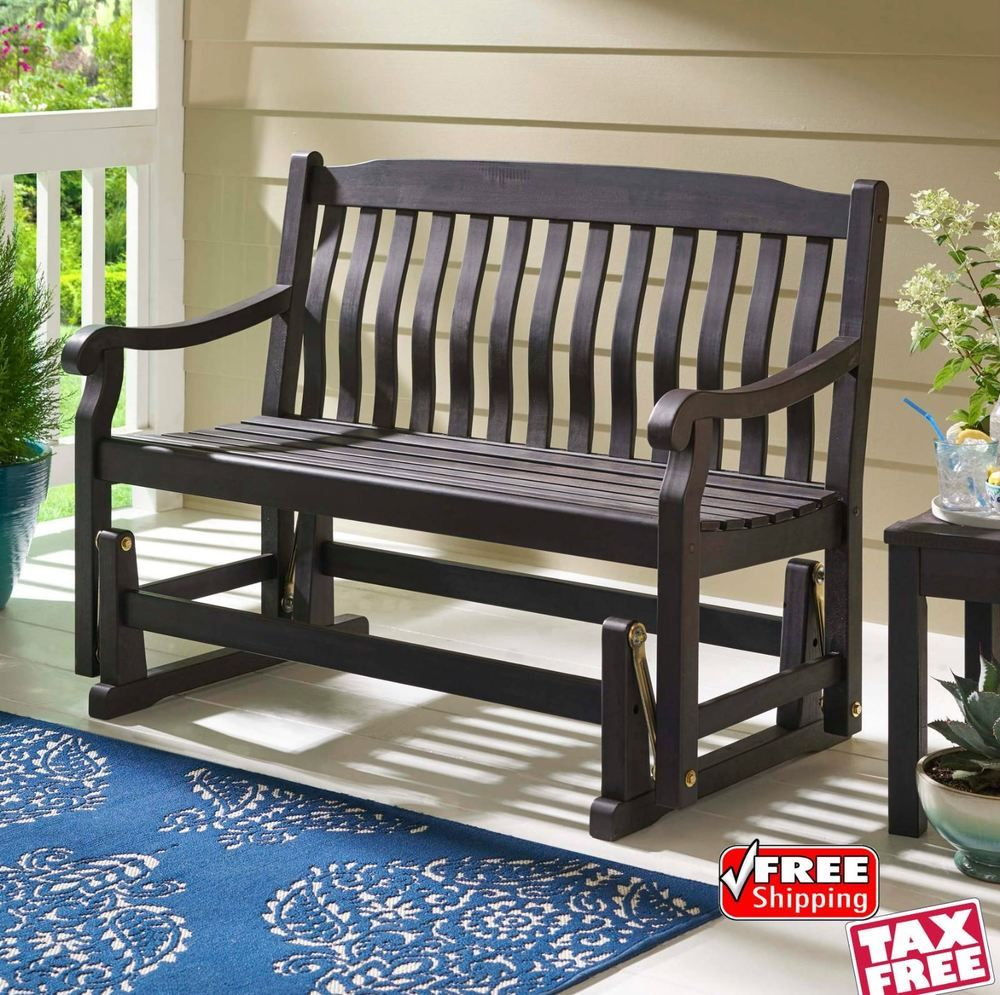 Outdoor Wood Glider Bench Porch Loveseat Swing Chair Patio Rocker Furniture 450l Outdoorwoodgliderbenchbbh Patio Chairs Swinging Chair Outdoor Wood