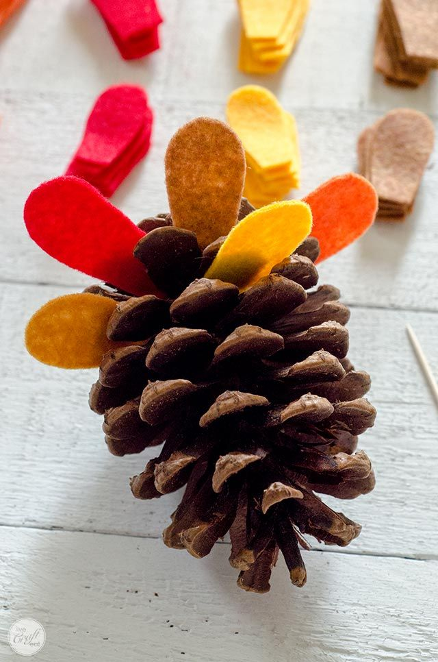 Pinecone Turkey Craft With Felt Feathers - How To   Live Craft Eat