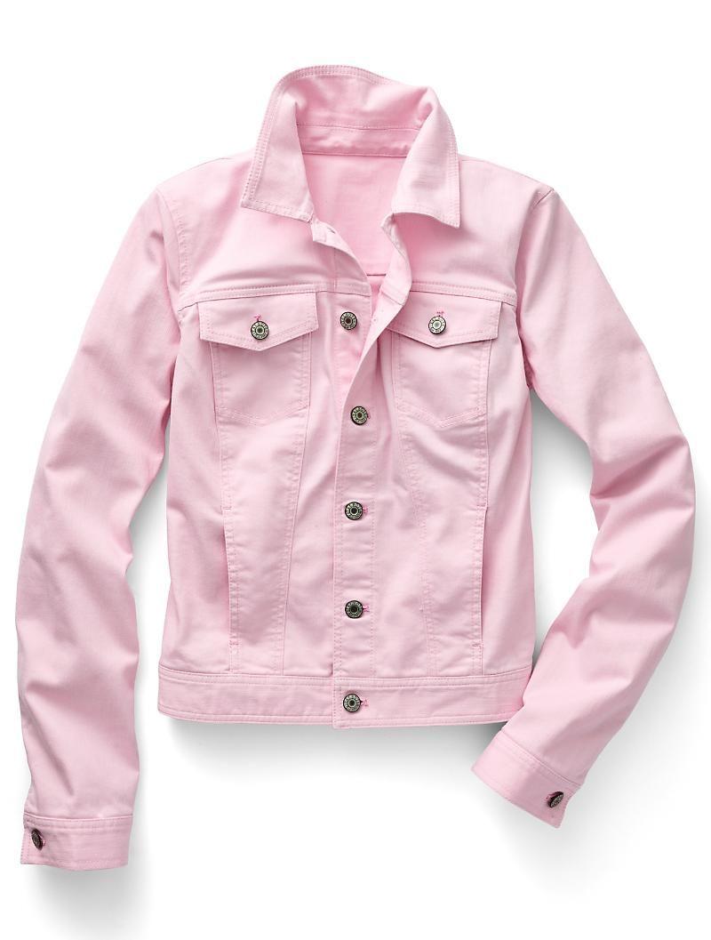 The Classic Denim Jacket Compact Pink White Talbots Pink Denim Jacket Petite Jean Jacket Petite Denim Jacket [ 1057 x 800 Pixel ]