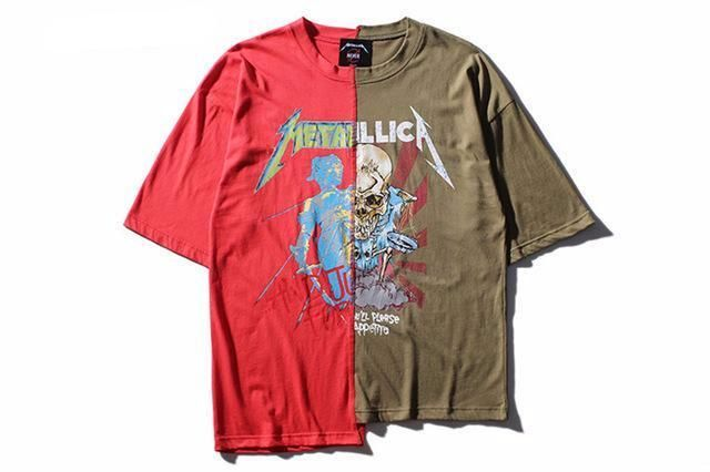 2f20ad71838 Metallica - Half Sleeve Oversize Green & Red T-shirt | Metallica t ...