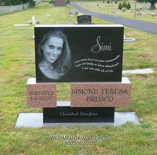 Brusco Contemporary Headstone In Black Amp Pink Granite