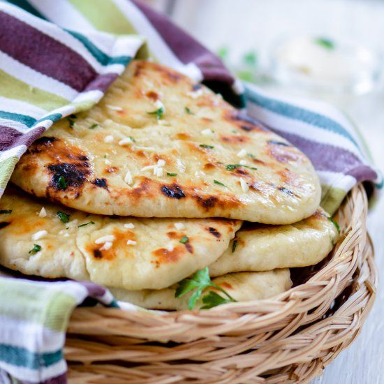 No Yeast Garlic Butter Naan   Recipes, Indian food recipes ...