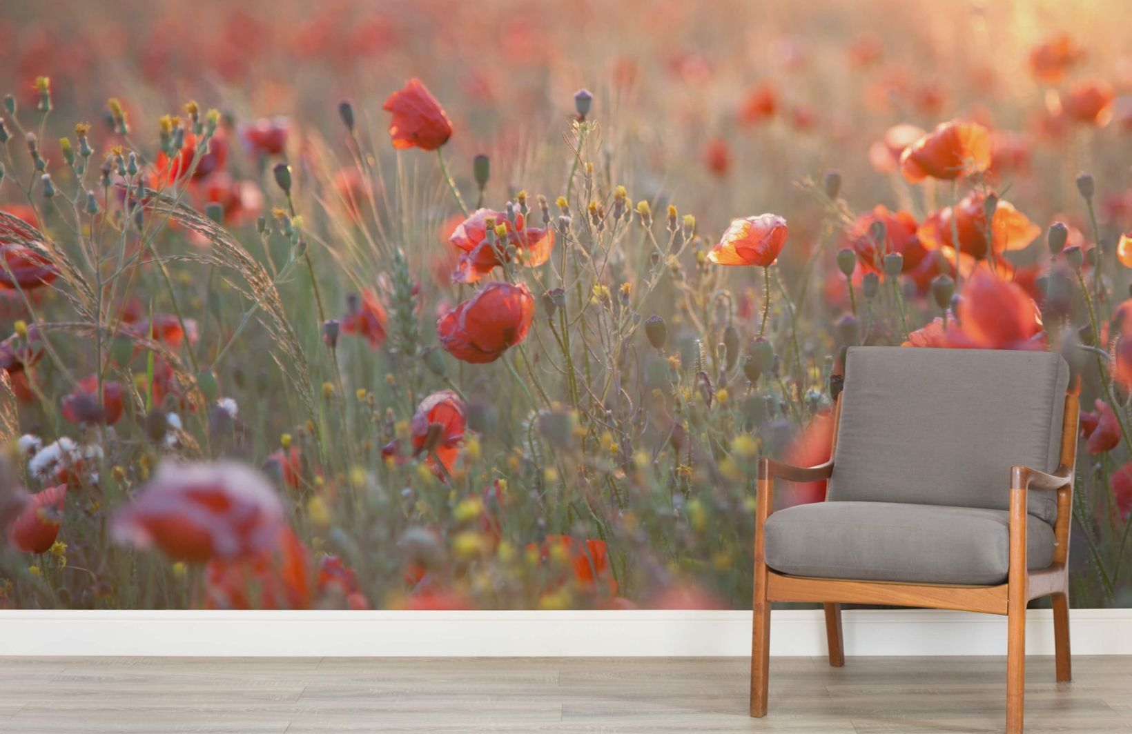 Poppy Flower Meadow Wall Mural Floral Landcape Photo Wallpaper Living Room Decor