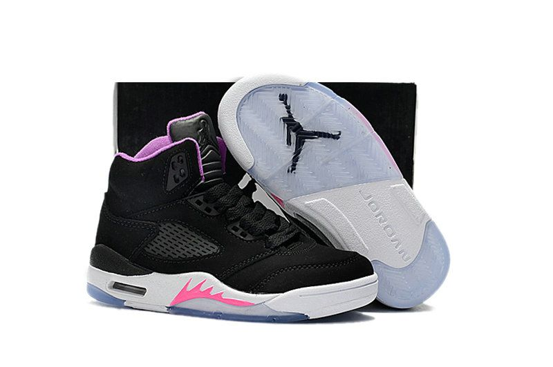 low priced b33cb c7fa5 Kids Air Jordan 5 GS Black Deadly Pink-White 440892-029