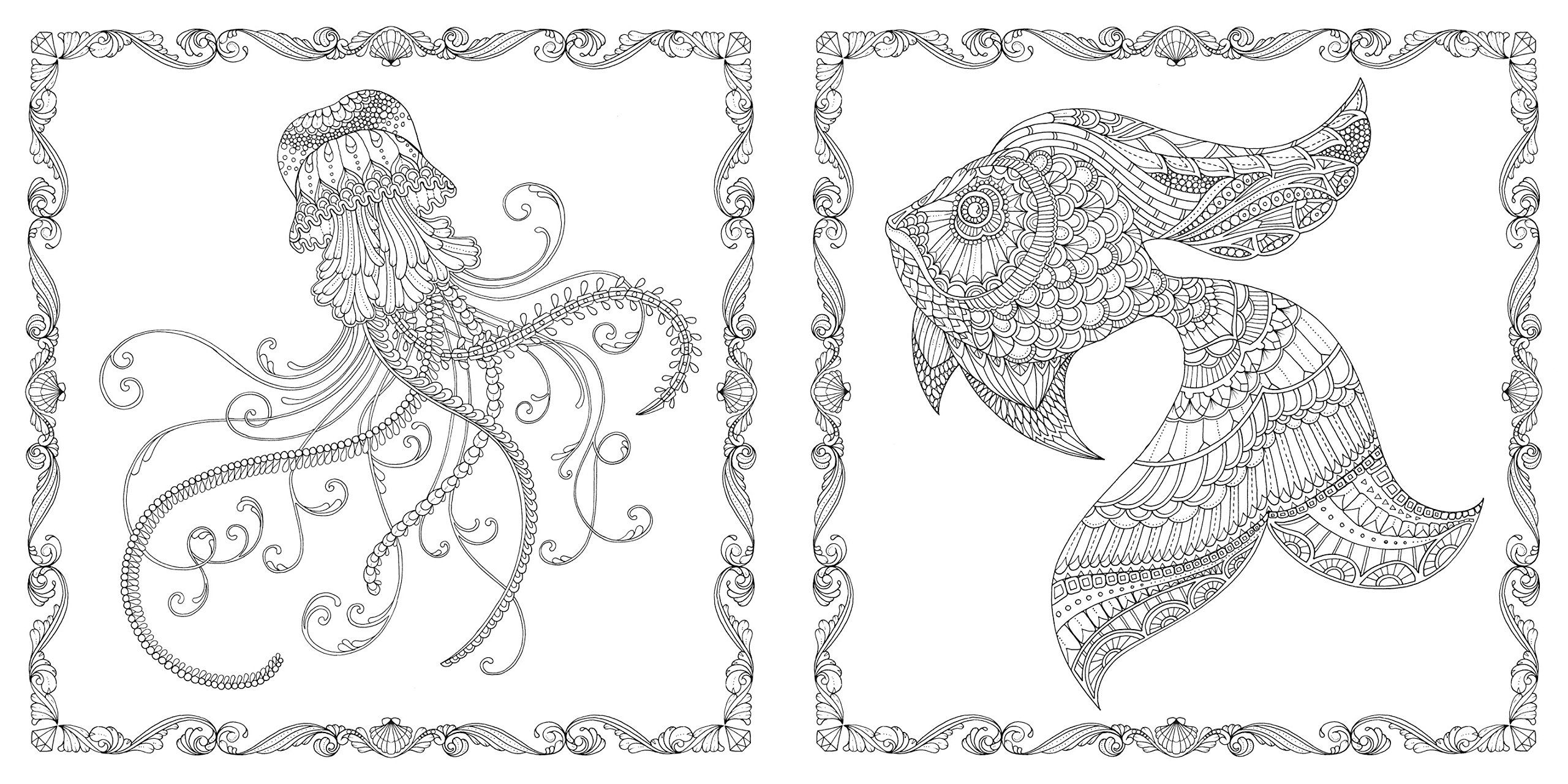 Johanna Basford Lost Ocean An Inky Adventure Adult Colouring Therapy Book Inside