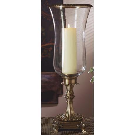 Ladley Antique Brass Hurricane Pillar, Hurricane Glass Candle Covers