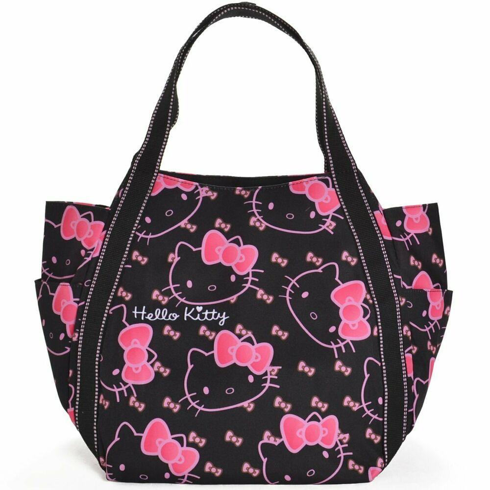 New Hello Kitty Sanrio Kawai Japan Free Shipping Print Tote Bag Black face