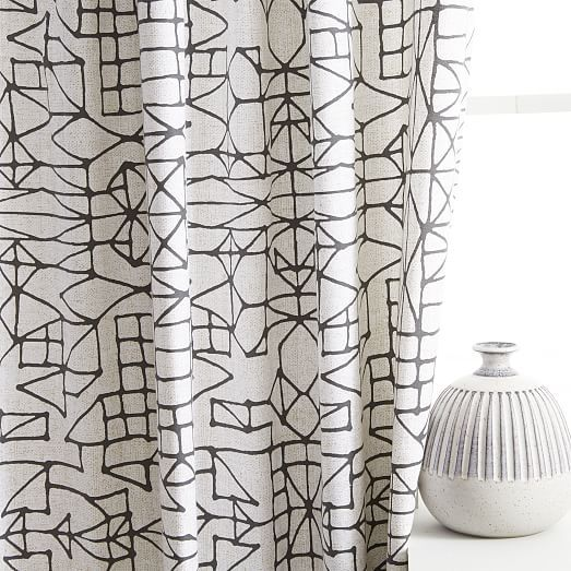 Cotton Canvas Sketched Drawing Curtains Set Of 2 Slate West