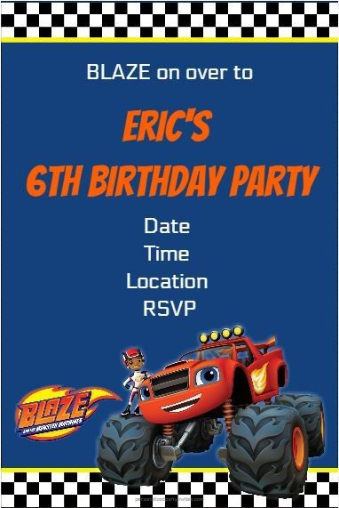 blaze and the monster machines party invitation personalized party, Party invitations