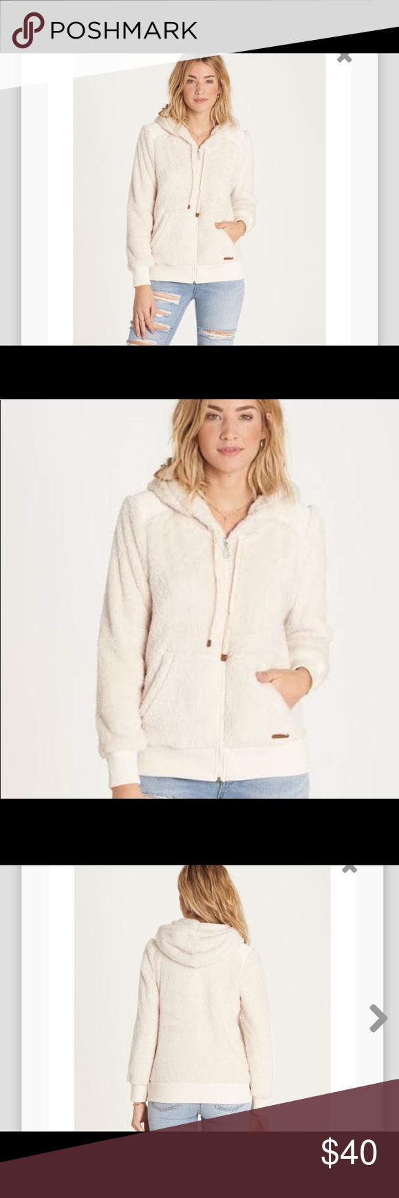 Billabong cozy polar fleece jacket womens ivory polar fleece tan