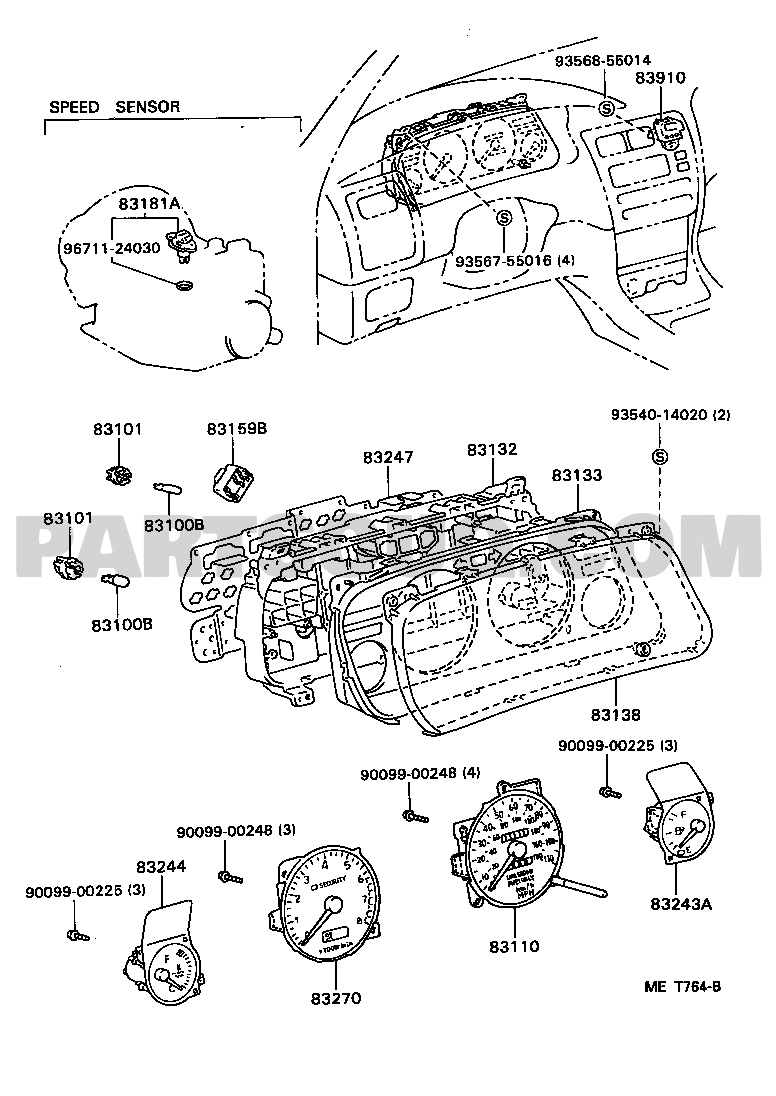 Meter corolla jpp ae10 ae101l aehnkk toyota genuine parts catalogs