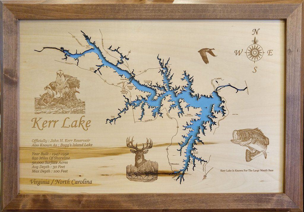 Kerr Lake in North Carolina and Virginia Wood Laser Cut Map