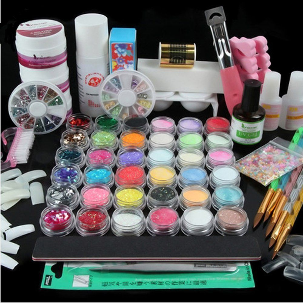 Vip Beauty Shop Full 36 Multi-color Nail Art Acrylic Powder Brush Uv ...